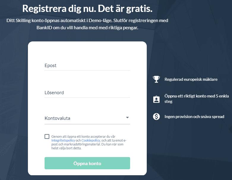Skilling nytt konto registrering