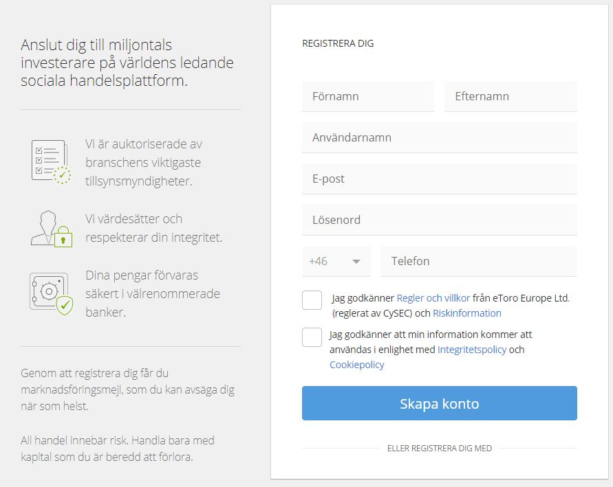 eToro nytt konto registrering