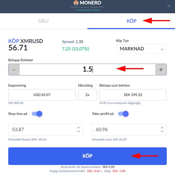 XMR Monero order Skilling