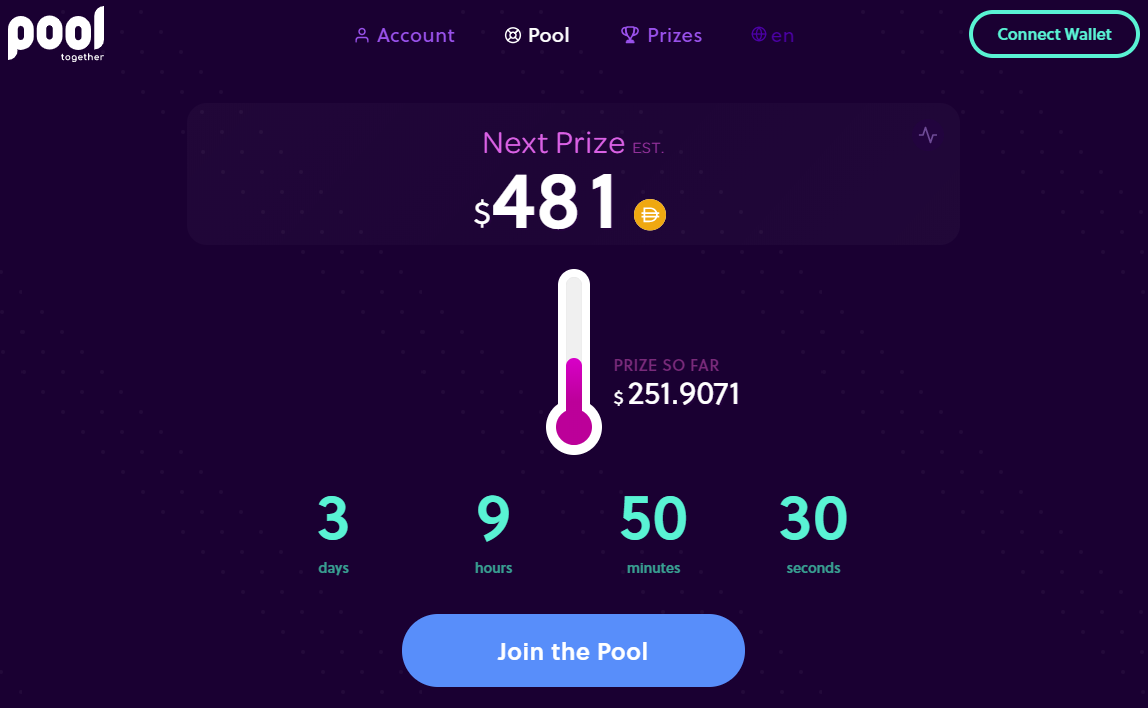 Pooltogether DeFi DApp lotteri